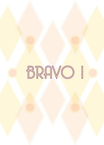 Pink, congratulations card printable and royalty free for visual identity, graphic design or decoration. Greeting Bravo Graphic Design Orange Geometric