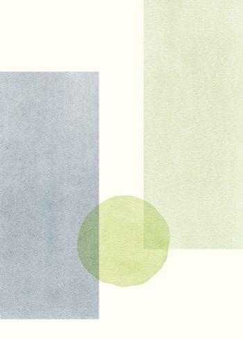 Japon bleu, carte illustrée imprimable et libre de droits pour identité visuelle, communication et décoration. Imprimer Peinture Motifs Bleu Aquarelle Vert