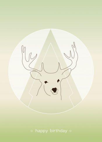 Cerf, carte d'anniversaire imprimable et libre de droits pour identité visuelle, communication et décoration. Vœux Fête Animal Nature Nordique Garçon Fille