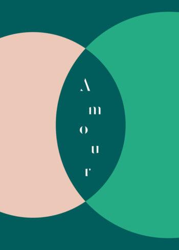 Amour : carte de vœux sentimentale • à télécharger et à imprimer / Illustration graphique et minimaliste colorée, carte de voeux originale imprimable