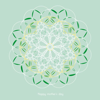 """Spring rosette, Happy mother's day card downloadable and printable, royalty free for visual identity, graphic design or decoration / Sentimental greeting card """"Happy mother's day!"""", Vegetal and floral inspiration, Spring, Flowers • Creative Lune : Downloadable and Printable Cards, Posters & Stationary •"""