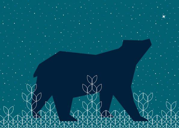 Ours sous les étoiles : carte inspiration Noël à Télécharger & à Imprimer