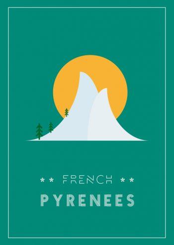 French Pyrénées : affiche régionale Nature à Télécharger et à Imprimer • Création graphique originale imprimable inspirée des Pyrénées, Océan et Montagne