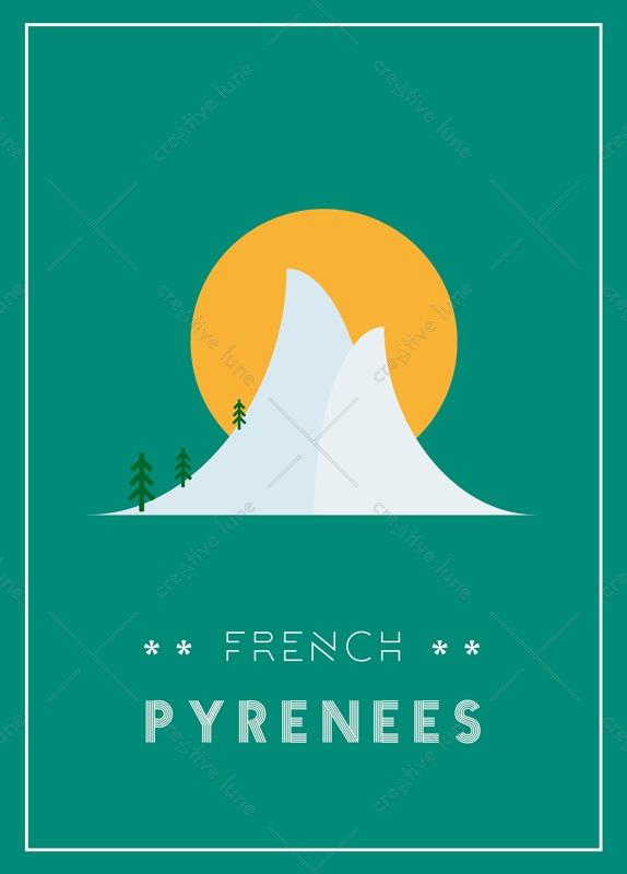 French Pyrénées : carte Région et Nature • à Télécharger & à Imprimer / Création graphique originale inspirée des Pyrénées de format A6, carte imprimable
