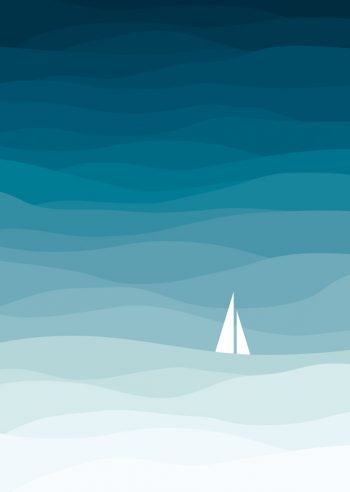 The sea • Downloadable & Printable marine poster / Composition of blue waves which creates a range of blue - Original graphics designed by Creative Lune