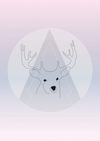 Affiche Cerf Biche Illustration Graphique Poster Nature