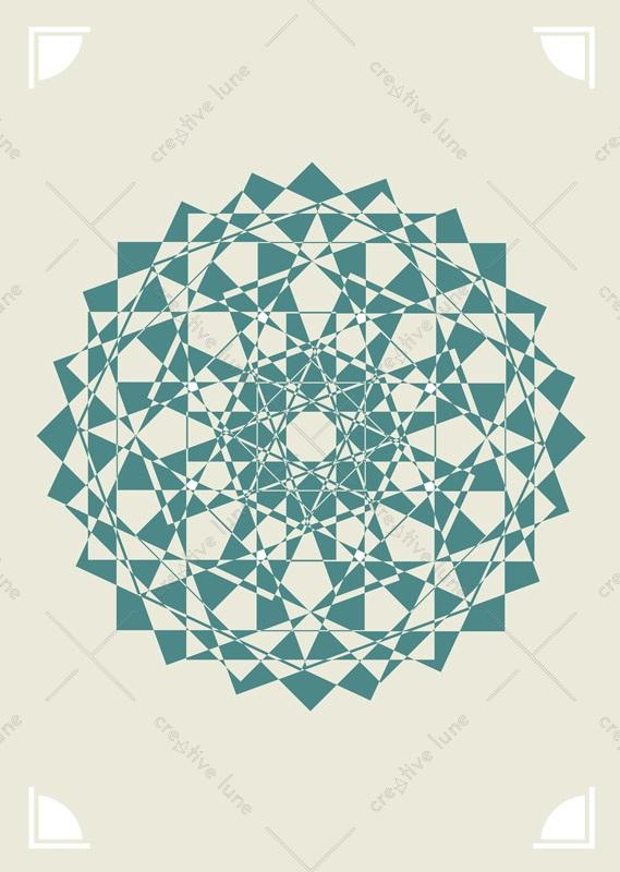 Rosace turquoise, affiche haute résolution Décoration / Turquoise rosette, high resolution poster