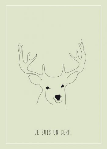 Je suis un cerf, carte illustrée imprimable et libre de droits pour identité visuelle, communication et décoration. Dessin Enfant Animaux Forêt Biche Chevreuil