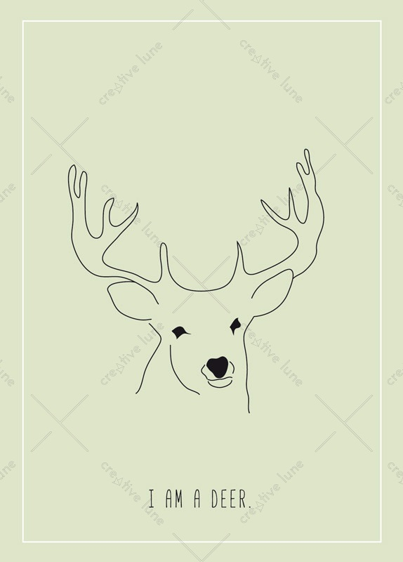 I am a deer, illustrated card printable and royalty free for visual identity, graphic design or decoration. Animals Forest Child Illustration Green Nature