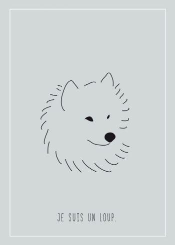 Je suis un loup, carte illustrée imprimable et libre de droits pour identité visuelle, communication et décoration. Enfant Chien Nature Forêt Sauvage Bleu