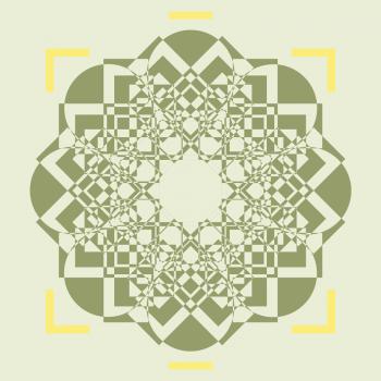 Rosace kaki carte illustrée Khaki rosette, illustrated card