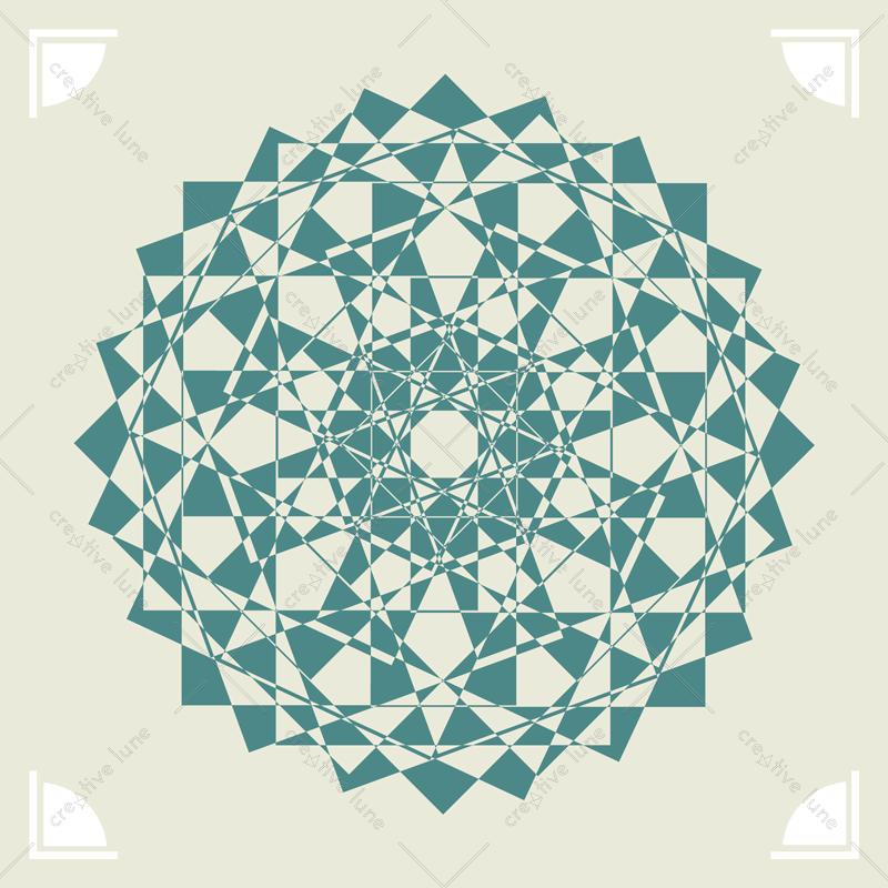 Rosace turquoise Carte illustrée Rosace Décoratif / Turquoise rosette, illustrated card