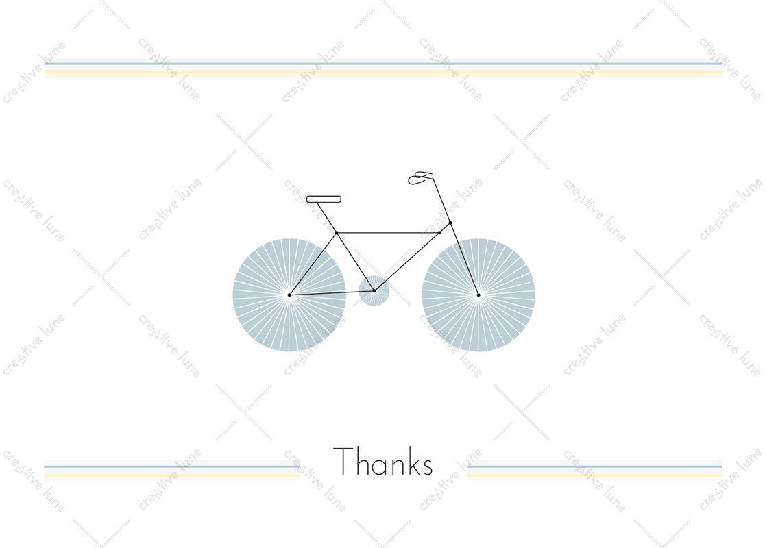 Bike, thanks card printable and royalty free for visual identity, graphic design or decoration. Greeting card Graphic Design White Sport Blue Drawing
