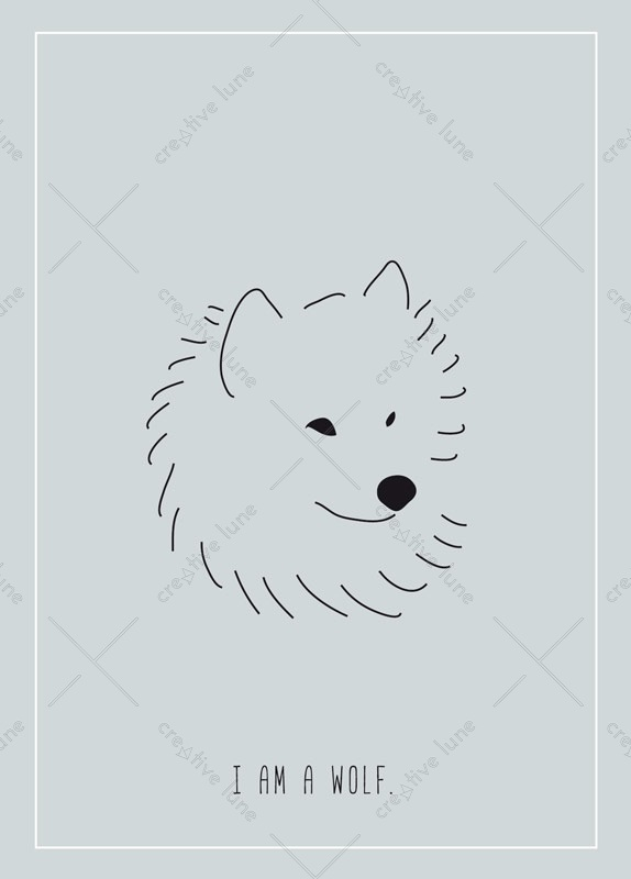 I am a wolf, illustrated card printable and royalty free for visual identity, graphic design or decoration. Nature Forest Wild Child Dog Drawing Animals