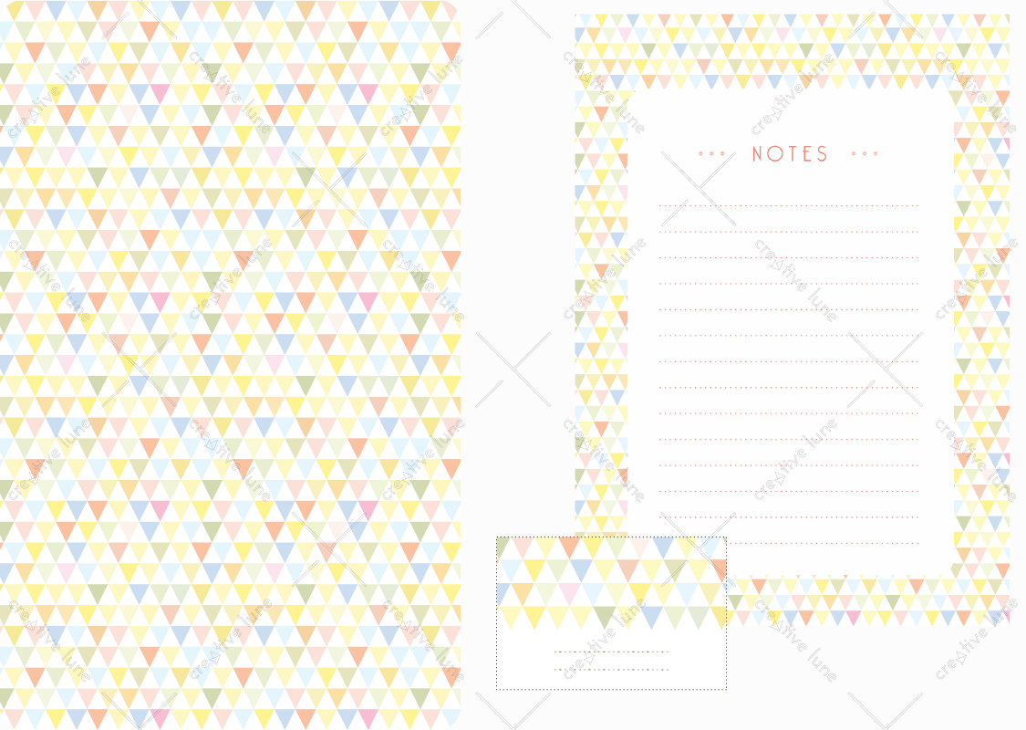 Papeterie Cotillons, lot d'articles de papeterie à télécharger et à imprimer / Confettis stationery, set of stationery items downloadable and printable. Notepad Paper Label Sticker Triangles Prints Patterns Desk Pack Scrapbooking Party