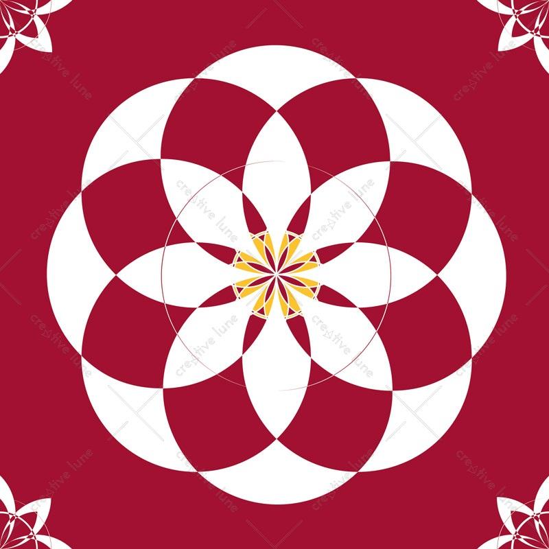 Palais basque, carte illustrée imprimable et libre de droits pour identité visuelle, communication et décoration. Fleurs Blanc Rouge Jaune Graphique Rosaces