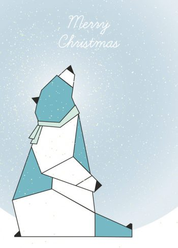 Bear in the snow, christmas card printable and royalty free for visual identity, graphic design or decoration. Child Magic Blue Cold Winter Animal Soft
