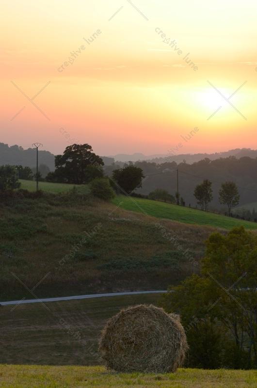 Botte de foin et paysage vallonné en fin de journée • Image haute résolution libre de droits à télécharger