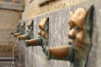 Béarn & Patrimoine : fontaine décorée de gargouilles • Photo Pau / Hédas - Image Libre de droit à télécharger de la fontaine quartier du Hédas à Pau Béarn
