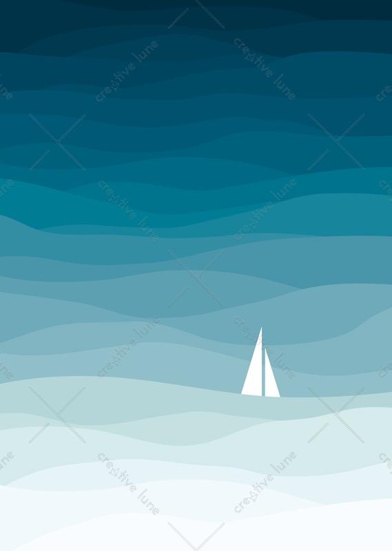 La mer • Affiche d'inspiration marine à Télécharger & à Imprimer / Motifs de vagues formant un camaieu de bleus - Conception originale Creative Lune
