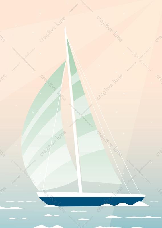 Voilier sur l'eau - affiche mer & bateau à imprimer • Creative Lune