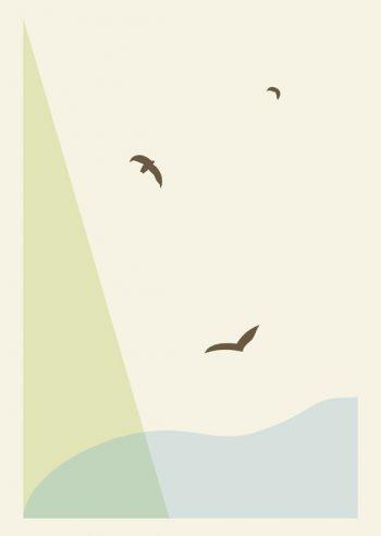 Vol d'oiseaux - affiche minimaliste Nature à imprimer • Creative Lune