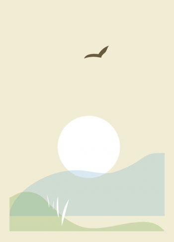 Entre terre et mer - carte illustration nature à télécharger • Creative Lune